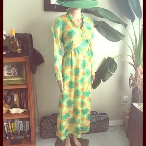 Vintage 70s Gardens and Groves Maxi Dress Sz S